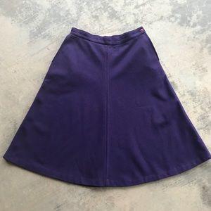 Vintage Purple A-Line Wool Midi Skirt